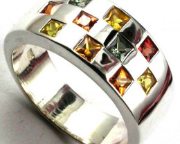 PARTY SAPPHIRES IN STERLING SILVER RING SIZE 9 1/2 GTJA410