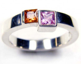 PARTY SAPPHIRES IN STERLING SILVER RING SIZE 7.5 GTJA 51