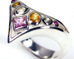 PARTY SAPPHIRES IN STERLING SILVER RING SIZE 8 GTJA35