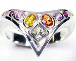 PARTY SAPPHIRES IN STERLING SILVER RING SIZE 8.5 GTJA34