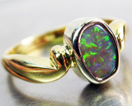 MULTI FIRE OPAL RING SIZE 6 18 K WHITE/YELLOW GOLD CK 294