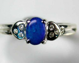 OPAL DOUBLET ON STERLING SILVER RING SIZE 6 L595