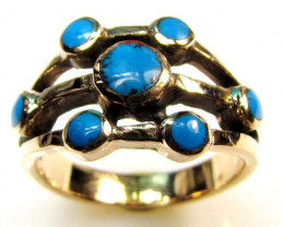 NATUAL HOWLITE DYED TURQUOISE BRONZE RING SIZE 7 RT 366