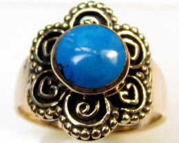 NATURAL HOWLITE DYED TURQUOISE BRONZE RING SIZE 8 RT 354