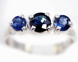 SIZE 7 BLUE AUSTRALIAN SAPPHIRES SET IN SILVER RING [SJ4554]