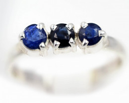 SIZE 7 BLUE AUSTRALIAN SAPPHIRES SET IN SILVER RING [SJ4553]