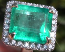 Columbian Emerald 9.58ct with Natural Diamonds,18ct Solid Gold Ring,GIA Cer