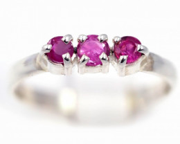 SIZE 7 NATRAL  PINK AUSTRALIAN SAPPHIRES SET IN SILVER RING [SJ4538]5