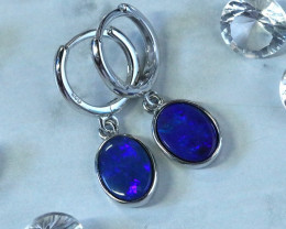 Blue fire doublet opals in stylish clip silver earrings SU 1483