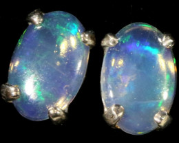 Cute Crystal Opal 18k White Gold Earrings SB 720