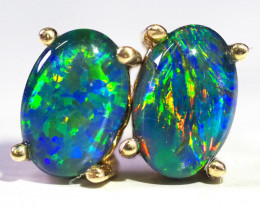 Cute Triplet Opal 14k Yellow Gold Earrings WS579