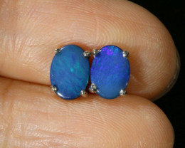 Cute Doublet Opal 18k White Gold Earrings SB 722