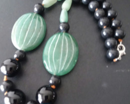 ADVENTURINE & JASPER NECKLACE 18 INCH HAND CARVED GEMSTONES