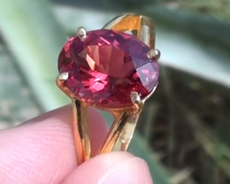 GIA Certified and Sourced Verified Red Mahenge Spinel 2.91ct, 22ct Solid Ye