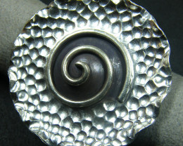 LARGE 36 DIAM TOP TRIBE SILVER RING SIZE 7.5 GTT 1295