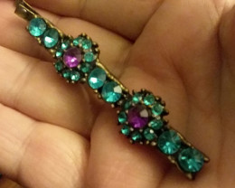 BLUE TEAL & PURPLE HAIR PIN BARRETTE LONG SIZE BOBBY PIN STLYE