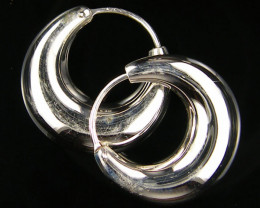 MODERN 24 MM LOOP STERLING SILVER EARRING MYT 464