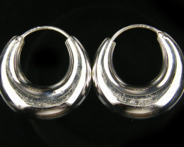 MODERN 24 MM LOOP STERLING SILVER EARRING MYT 466