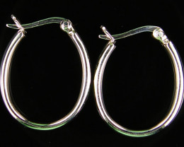 MODERN 22 x18 MM LOOP STERLING SILVER EARRING MYT 541