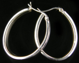 MODERN 30x25 MM LOOP STERLING SILVER EARRING MYT 492