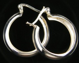 MODERN 22 MM LOOP STERLING SILVER EARRING MYT 482