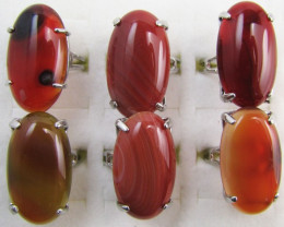 Parcel deal Six Large Agate Rings MJA 1197