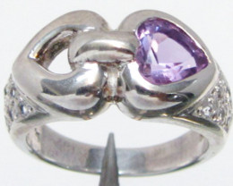 Heart Amethyst Silver Ring size 8.5 MJA 77