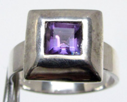 Square Amethyst in Silver Ring size 11 MJA 506