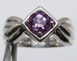 FACETED PRASIOLITE STYLISH SILVER RING SIZE  GG102Cute Amethyst in Silver R