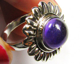 ROUND CABOCHON AMETHYST IN SILVER RING SIZE 6.5 MYG 866