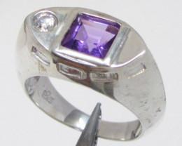 Modern Amethyst Silver Ring size 7 MJA 780
