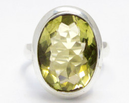 Bright Citrine set in silver ring size 10 MJA 710