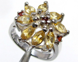 Bright Citrine set in silver ring size MJA 793