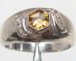 Modern Bright Citrine set in silver ring size 10 MJA 790