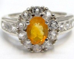 Bright Citrine set in silver ring size 7.5 MJA 789