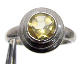Round faceted citrine ring size 8 MJA 332