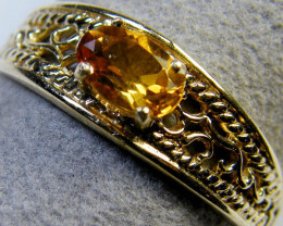 CITRINE 14 K FILIGREE DESIGN RING SIZE 7.5 MY 900