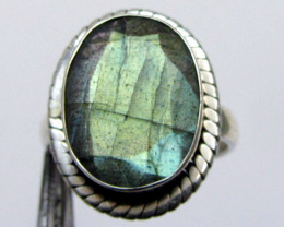 Labradorite faceted oval silver ring size 8 MJA 335