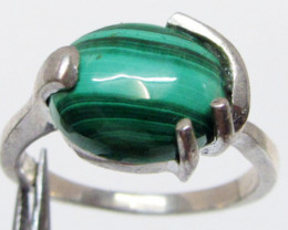 Malachite in silver Ring Size 9.5 MJA 518