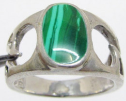 Malachite in silver Ring Size 8.5 MJA 520
