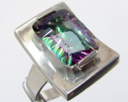 Mystic Quartz set in Large Silver Ring size 12.5 MJA 682