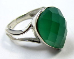 FACETED GREEN ONYX SILVER RING SIZE 8 MYGM 573