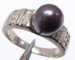 BLACK PEARL IN SILVER RINGS SIZE 8 MJA 718