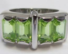 Peridot Gemstone set in silver ring size 5 MJA 799