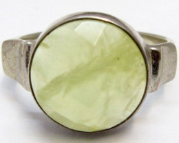 Aust Prehnite in silver ring size 8.5 ring MJA