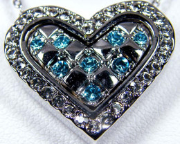 Simulant Jewery NR BLUE CRYSTAL HEART 18K WHITE GOLD PLATED PENDANT GTJA654