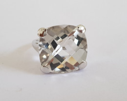 Crystal quartz Checkerboard 925 Sterling silver ring #325