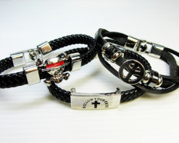 Simulant Jewery NR PARCEL THREE BLACK LEATHER BRACELETS QT 516