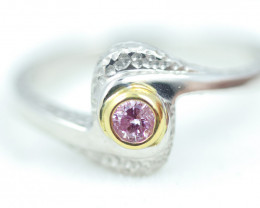 CERTIFIED 0.15 AUST PINK DIAMONDWHITE GOLD RING SIZE 7 OP35