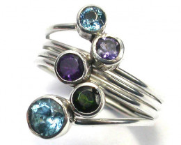 COLOURFUL ASSORTED GEM STONE 8.5 RING SIZE 22.05 CTS [SJ1204]